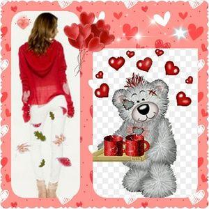 Red Knit Sweater w/ Hoodie         EUC